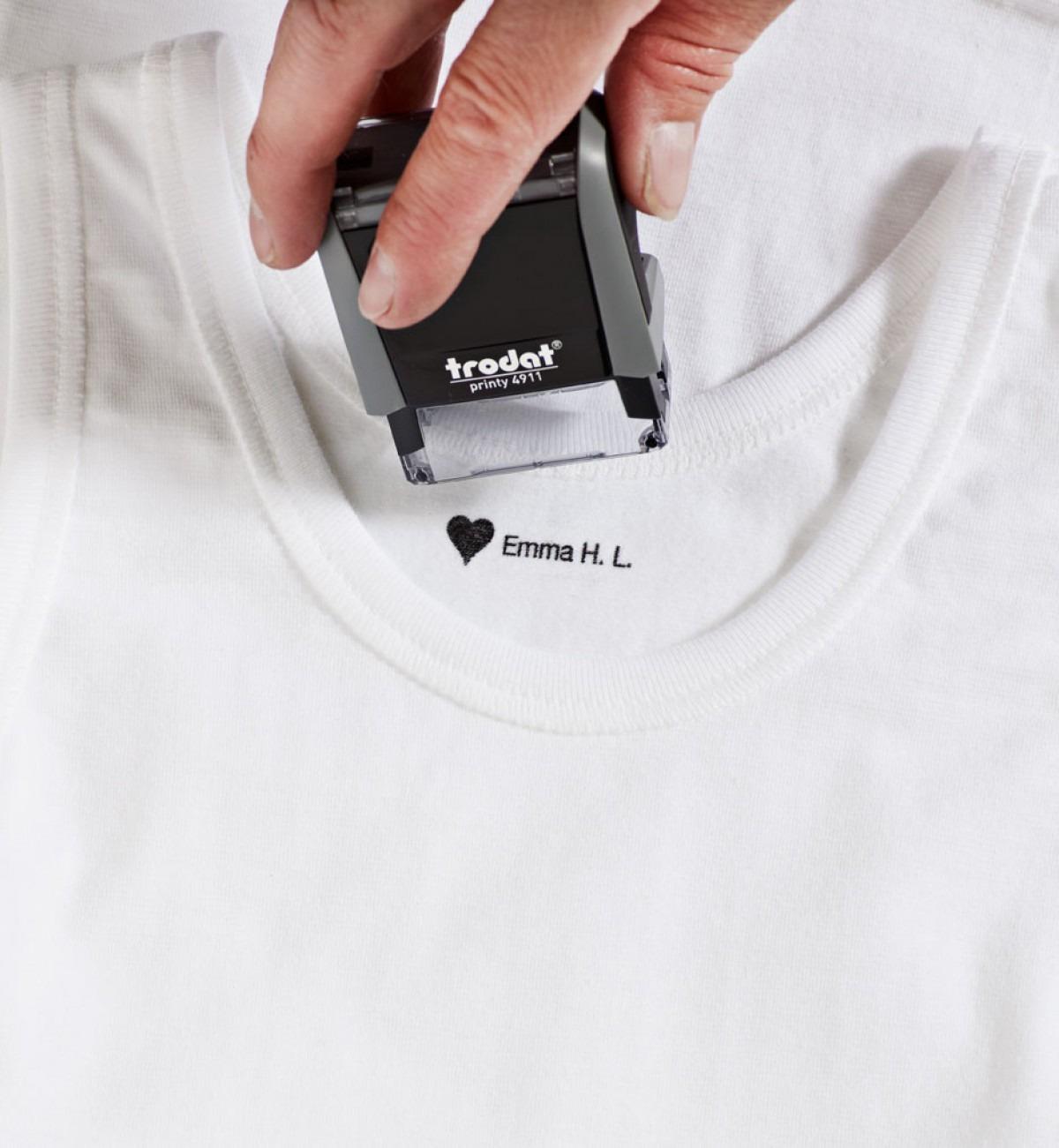 6bcac646 Tøystempel til klær! Med fast eller utskiftbar tekst